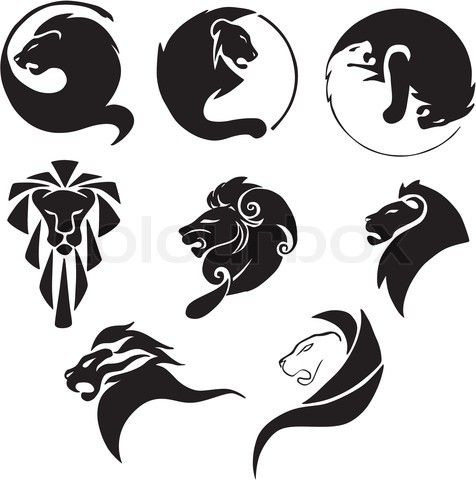 simple lion tattoo, on the right middle. Placement on ribs or behind ear