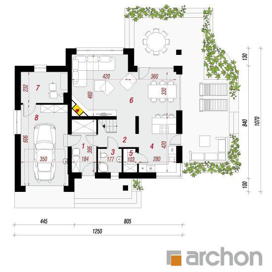 projekt Dom w aurorach rzut parteru