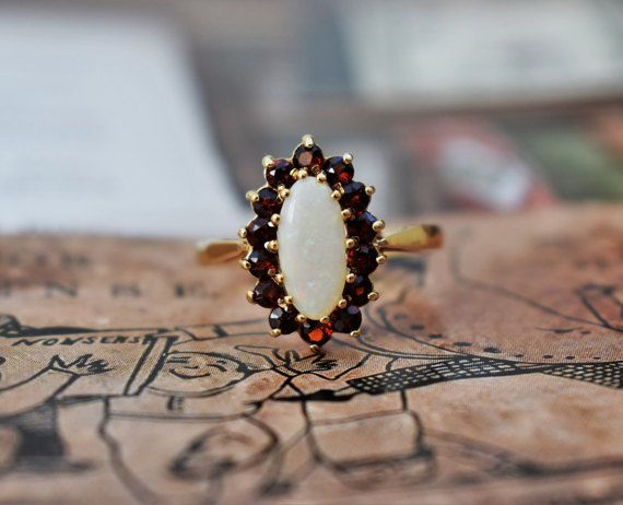 Vintage Opal Ring Navette Garnet Opal Ring by PrettyDifferentShop