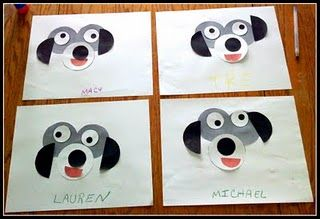 circle dog art - precut circles Make 4 different ones with your little one & frame each in simple black square frames to hang in their room. Create a little artist.