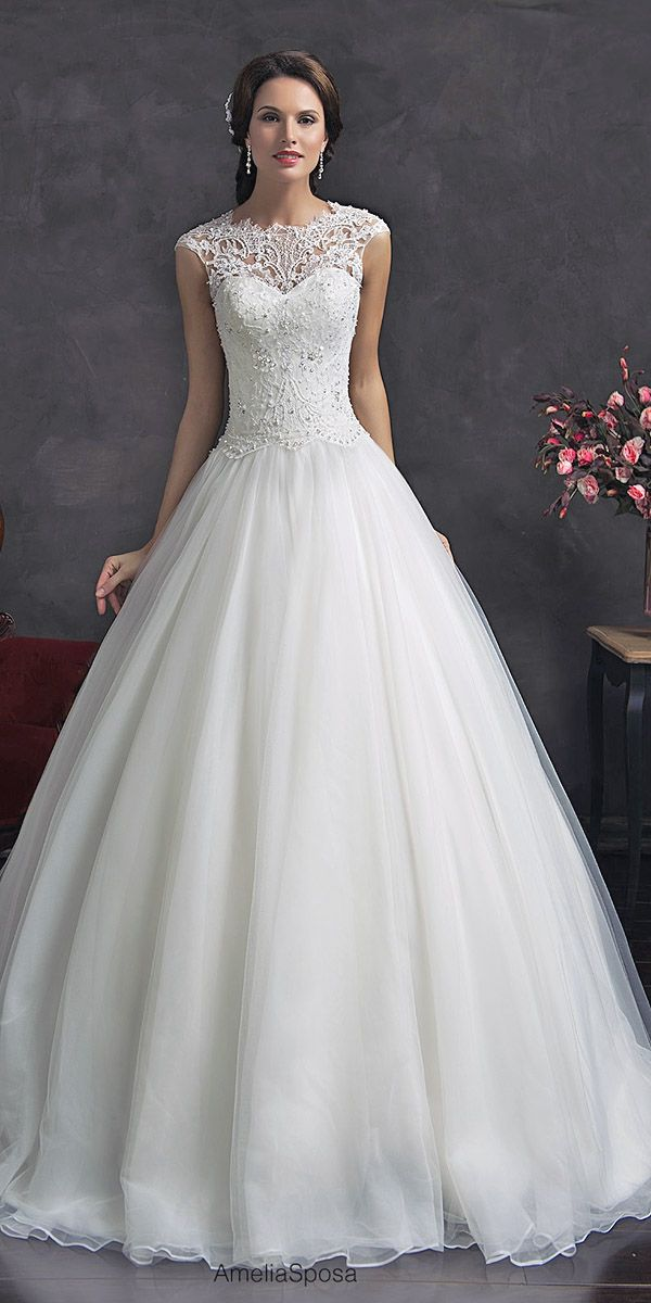 Wedding Ball Gowns By Ameli Sposa Andamp; Ronald Joyce ❤ See more: http://www.weddingforward.com/wedding-ball-gowns/ #weddings