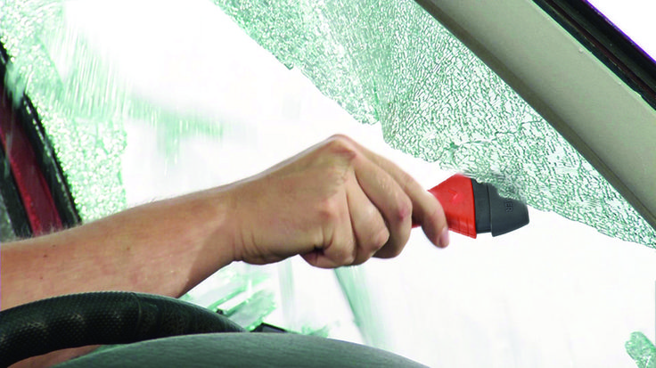 By simply pressing the Safety Hammer Evolution against the car's side window the ultra-hard ceramic hammerhead will shatter the window. #lifehammer #safetyhammer
