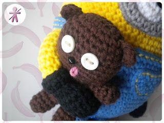 Bob's Teddy Bear Tim- Free Amigurumi Crochet Pattern - Spanish and English (Scroll Down) Version here: http://amigurumisfanclub.blogspot.com.es/2015/10/the-minions-iv-tim.html