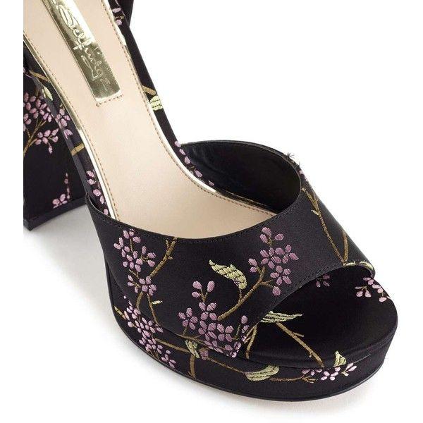 Miss Selfridge Crush Oriental Platform Sandals ($90) ❤ liked on Polyvore featuring shoes, sandals, black, black shoes, miss selfridge shoes, black platform sandals, kohl shoes and platform shoes