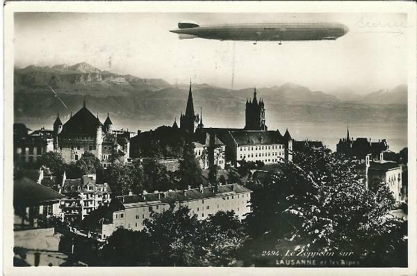 Le Zeppelin sur Lausanne et les Alpes, 1934