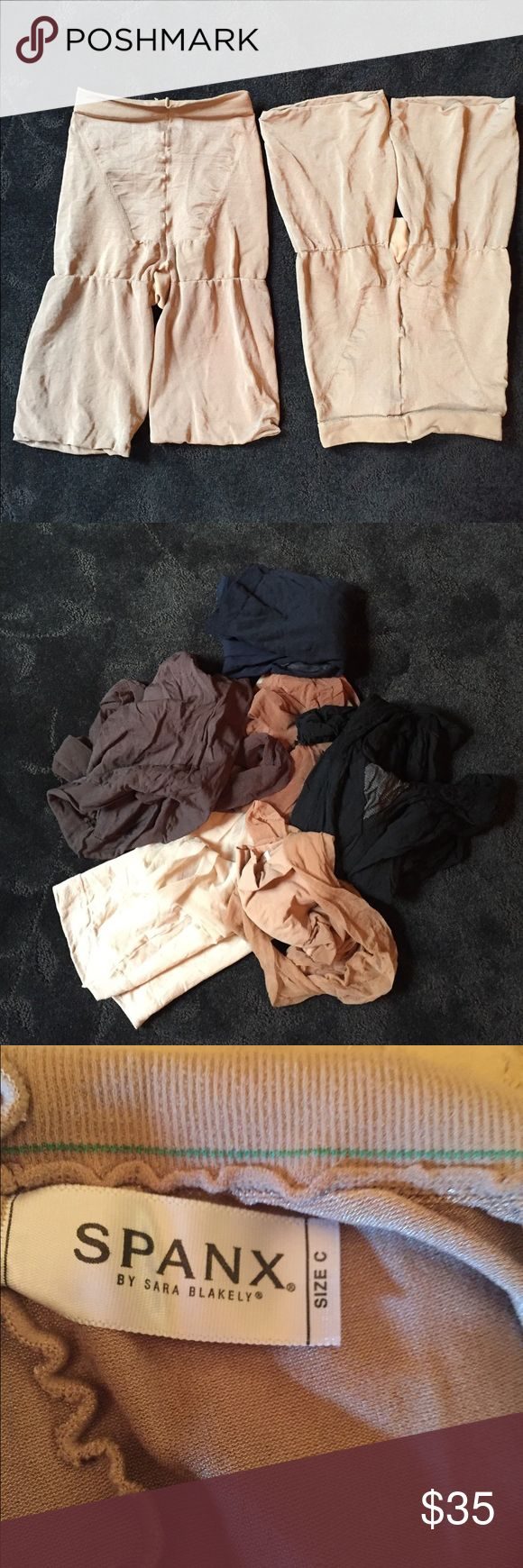 Spanx control bottoms/stockings 2 pairs of Spanx control bottoms, 2 pairs of Spanx stockings (1-Beige, 1-black) plus 6 more panty hose, Hanes Silky Sheer & Liz Claiborne. All Spanx size C others size large. Great bundle for professional lady. SPANX Intimates & Sleepwear Shapewear