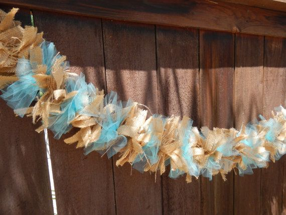 Burlap Garland Burlap and Tulle Garland Ready by LolaRoseDesigns, $30.00