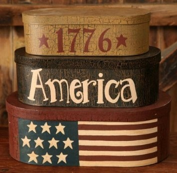 "Amazon.com: 1776 American Flag Oblong Nesting Boxes - Large 13 3/4"" High When Stacked -Perfect for Rustic Primitive Country and Americana Decor: Home & Kitchen"