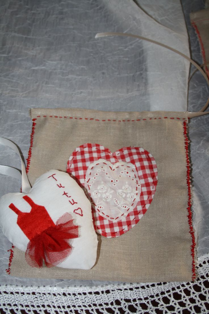 fabric heart with red tutu