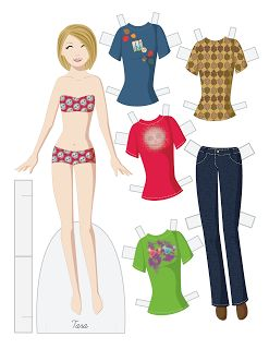 Tara vector paper doll.  An autumn/Halloween doll with fun t-shirts. * 1500 free paper dolls at Arielle Gabriels The International Paper Doll Society also free Asian paper dolls at The China Adventures of Arielle Gabriel *