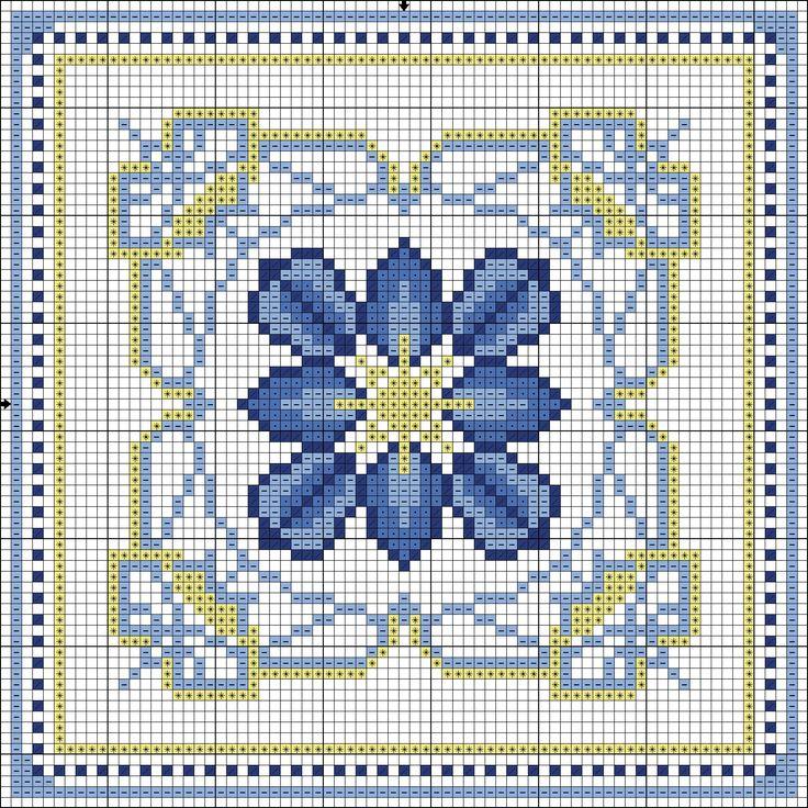 Azulejos Portugueses por Filomena Reis: GG1 - Céu de Lisboa - Grafico Gratuito  Foi utilizada a Linha Moulinée da DMC nas cores: 311 - 798 - 809 e 726