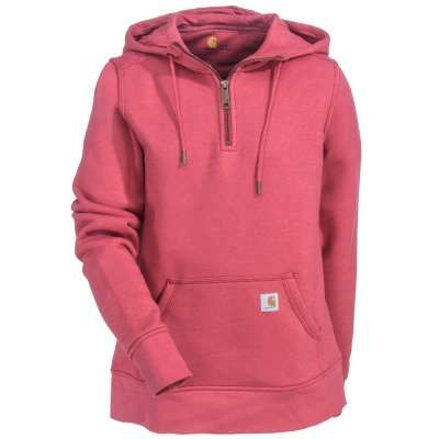 Stay warm this fall with this #Carhartt #Womens #102341 quarter-zip pink #Clarksburg sweatshirt.    #WorkingPersons #WorkWear #FallFashion #Women