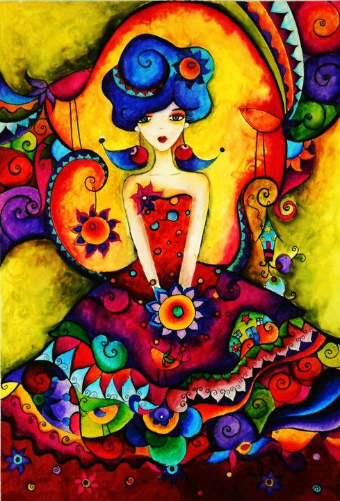 Girl in dress of many colors ~ doriah.deviantart.com