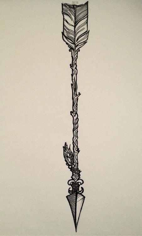 Arrow tattoo: When life pulls you backward, you always spring back forward.