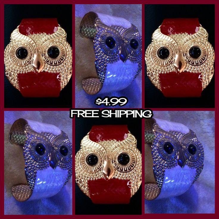 Red or cream color owl bracelets