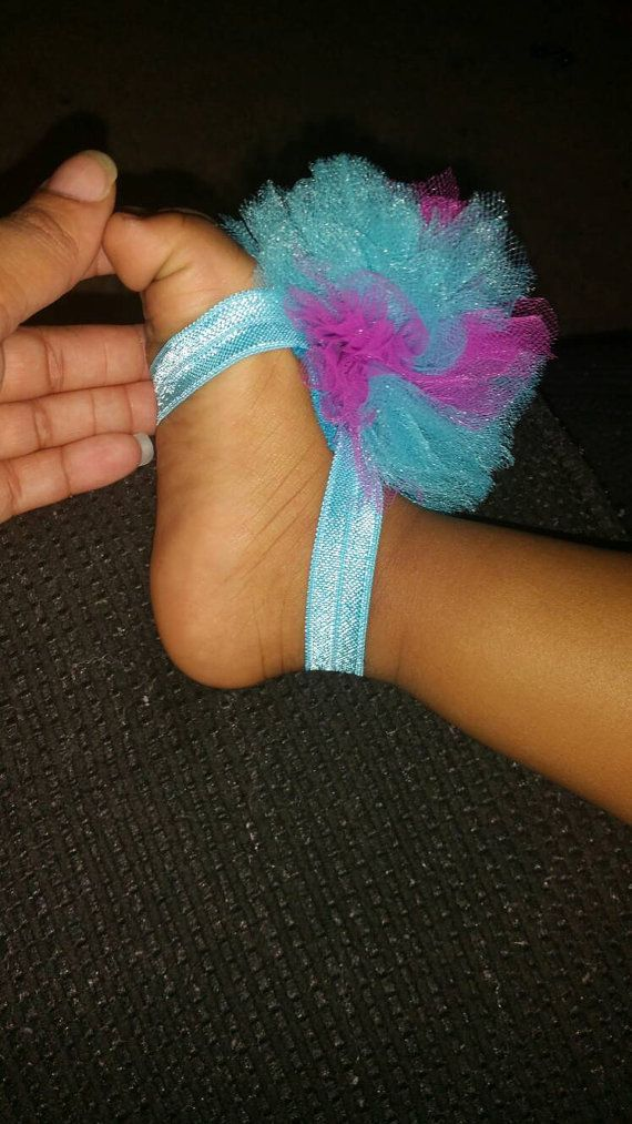 Pom Pom Barefoot Sandal by KrystalLovelyThings on Etsy