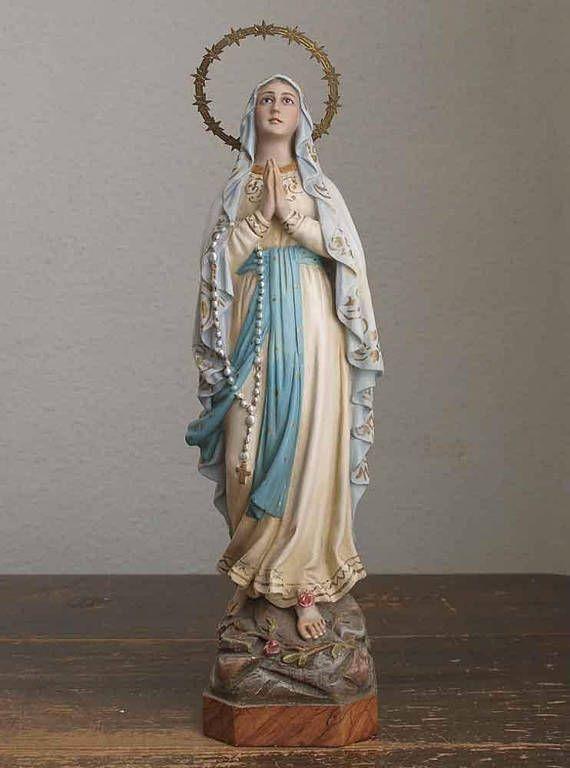 ガラスの瞳のルルドの聖母マリア像 高42cm グラスアイ南仏 聖人像 聖地 工藝 南欧 アンティーク / F135
