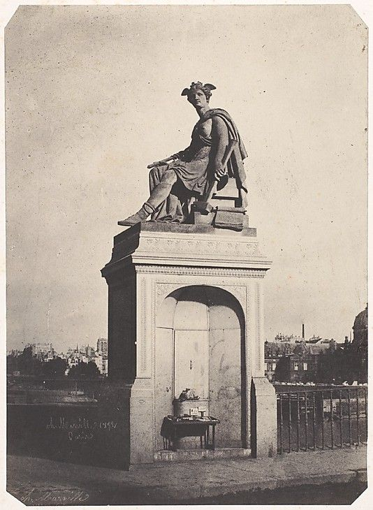 """[Allegorical Sculpture of Industry, Pont du Carrousel] dated 1852...part of an exhibition """"Charles Marville: Photographer of Paris"""""""