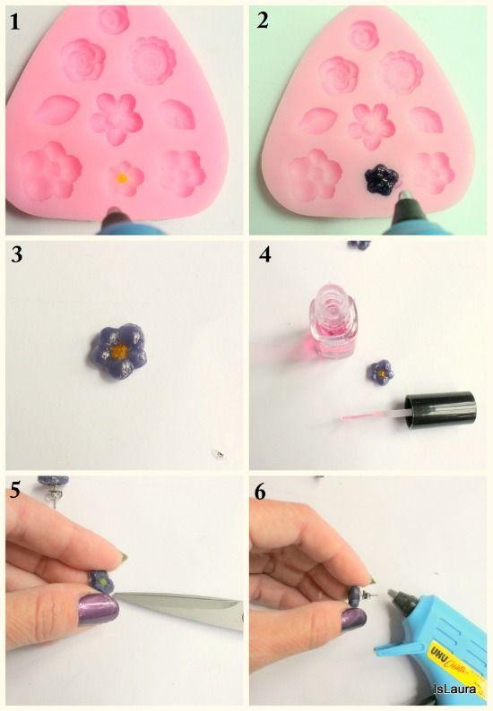 Come realizzare gli orecchini con la colla a caldo: tutorial