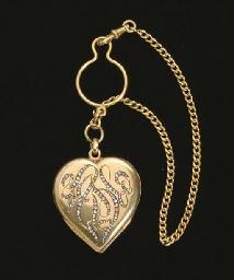 14k Gold Heart Shaped Pendant Locket, 19th century