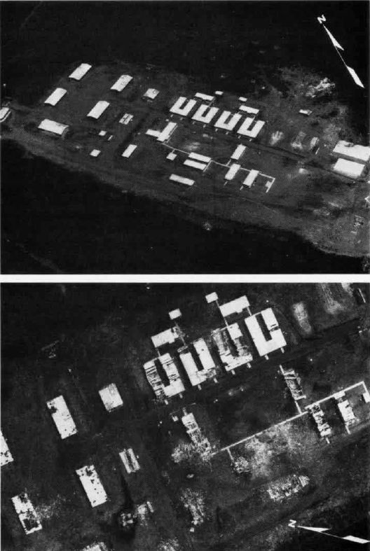 Before and after photos of Point Calivingy barracks.