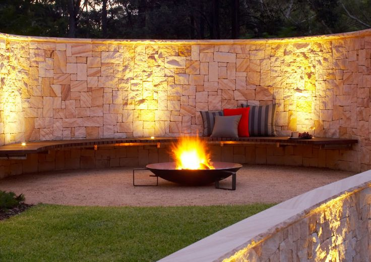 Eco Outdoor Killcare sandstone random ashlar curved walling and  fire pit, Space Landscape Designs. Eco Outdoor | livelifeoutdoors | Outdoor design |Granite  flooring | Killcare random ashlar sandstone walling | Natural stone walling and flooring | Garden design | Outdoor paving | Outdoor design inspiration | Outdoor style | Outdoor ideas | Garden ideas | Luxury homes | Outdoor luxury | Retaining wall | Stone veneer | Stone walling | Stone cladding | Outdoor fire pit