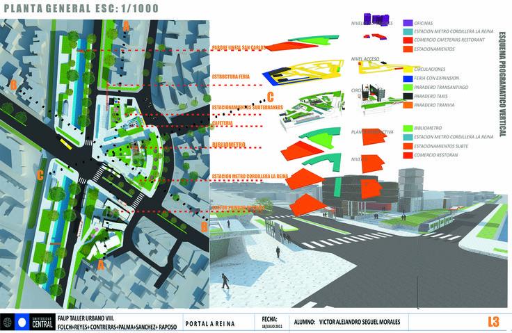 Planta intervención urbana Acceso Comunal +Diagrama de zonificación del programa arquitectónico.  Proyecto de examen individual realizado en Taller Urbano (VIII).
