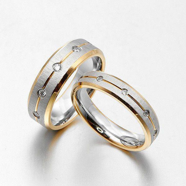 groom bride cz stone wedding bands titanium rings set
