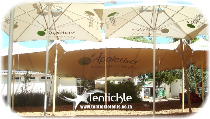 Appletiser branding inside this stretch tent, keeping people cool this summer