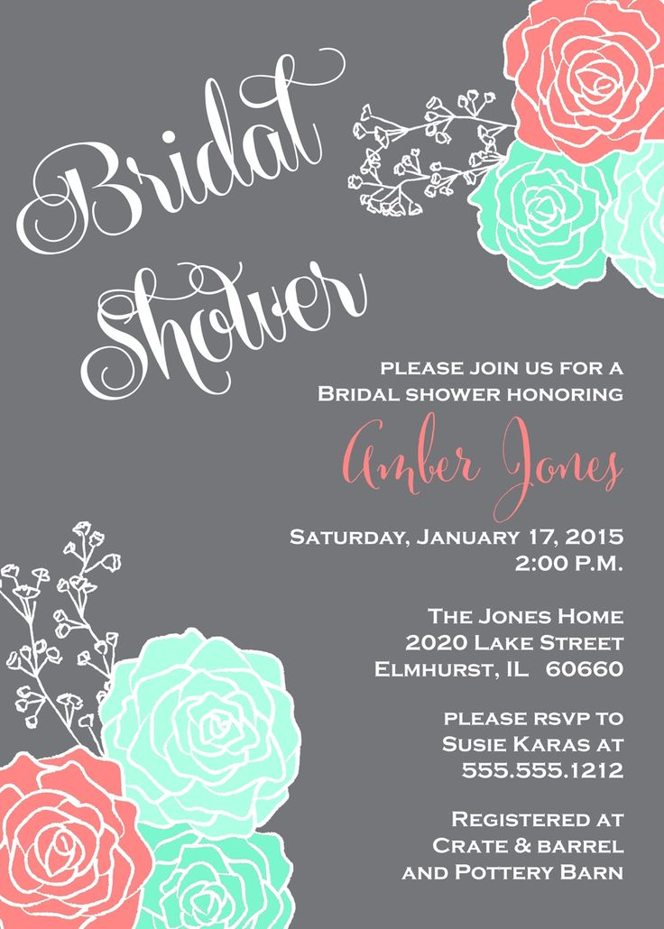Coral & Ivory (not mint) Bridal Shower Invitation, Gray Chalkboard