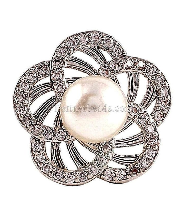 Silver Plated Pearl Zircon 18mm Snap Charm For Ginger Snaps Magnolia Vine