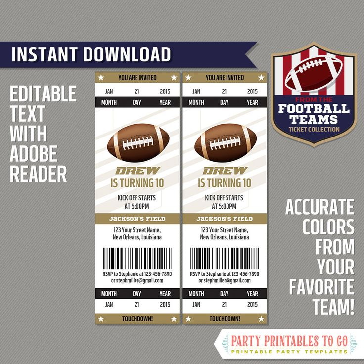Best 25+ Football ticket ideas on Pinterest Football party - foot ball square template