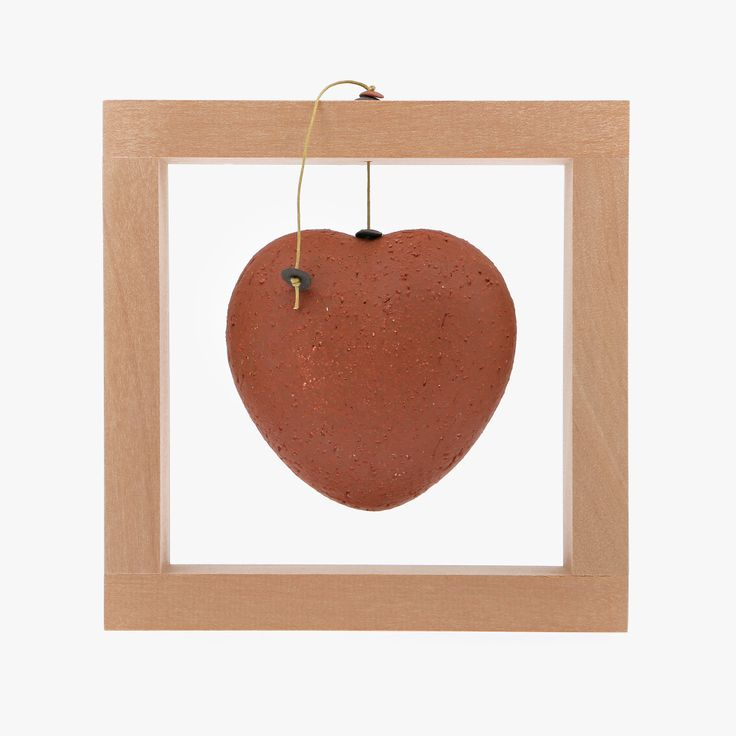 Ceramic Ornament - Heart Frame, Red