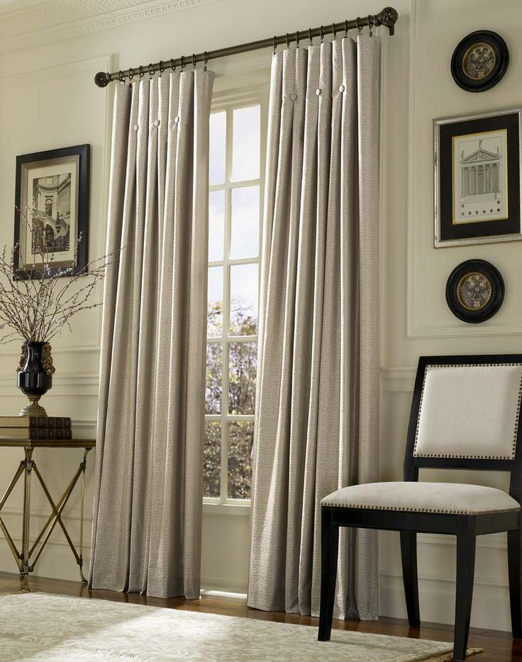 Ivory Living Room Curtains, Long High Curtains And Dark Rods So PERFECT.  Love The Curtain Top Finish.