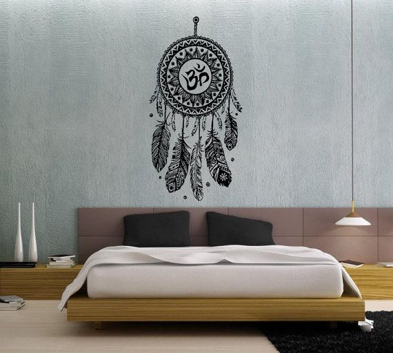 Dream Catcher Dreamcatcher Feathers Hindu Om Symbol Wall Decal Vinyl Sticker Decals Bedroom Home Wall Art Decor Wall Decals V994 on Etsy, $32.99