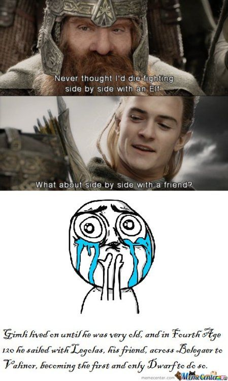 .: Rings Hobbit, Legolas And Gimli, Best Friends, True Friendships, Hobbit Lord, Lotr Hobbit, Heart Melted, Lord Of The Rings