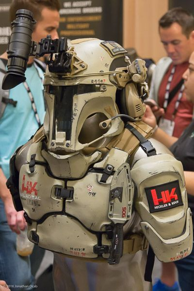 shot show 2016 mandalorian armor - photos of some Boba Fett / Mandalorian inspired armor made by AR500 Armor and designer Ryan B. Flowers. Note that the version below is made out of actual ballistic plates.