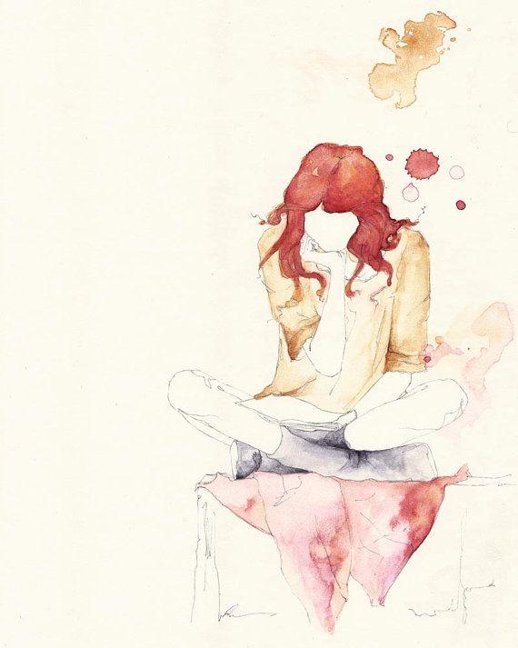 Girl Reading 5x7 by emmaleonardart.