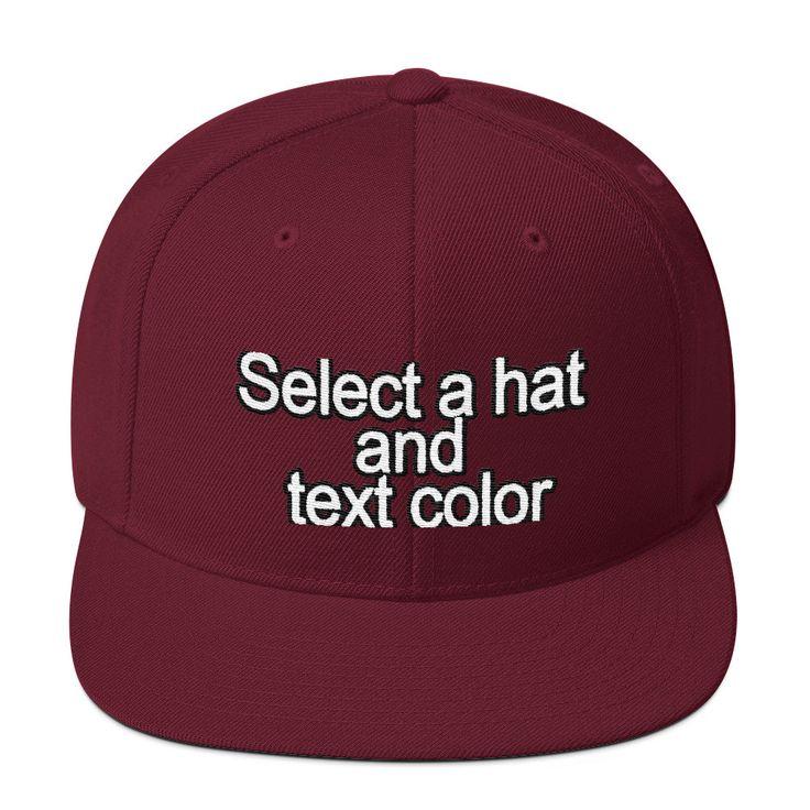 Custom Embroidered Hats - Wool Blend Snapback Flat Bill Hat