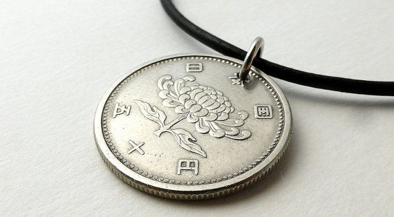 Japanese Coin necklace Coin jewelry Floral by CoinStories on Etsy