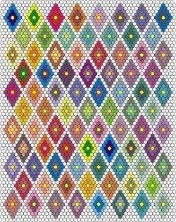 Hexagon piecing diagrams (includes flower variations too)