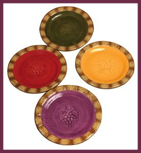 Ceramic Dinner Set: Manual Woodworkers Wine Cellar Decorative Dinner Plates, 8 Inch, Set of 4. This set is meticulously handcrafted and hand- painted. Dishwasher, Microwave and Food Safe. Each plate is 8 inches in diameter. http://theceramicchefknives.com/ceramic-dinner-sets/ Ceramic Dinner Set: Manual Woodworkers Wine Cellar Decorative Dinner Plates, 8 Inch, Set of 4.