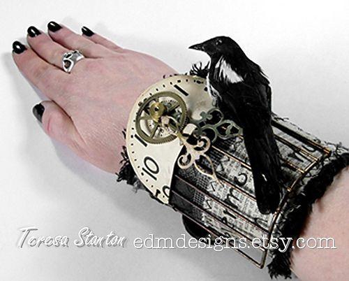 https://flic.kr/p/7eXtYK | textile cuff, mixed media wearable art, industrial cuff, steampunk wrist cuff