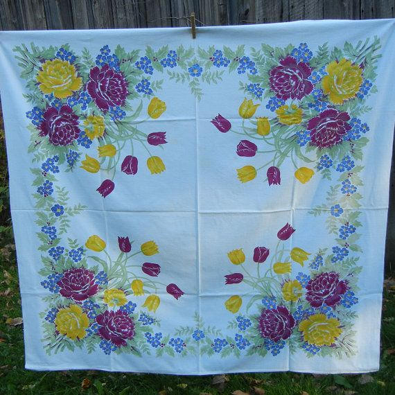 Midcentury tablecloth tulips and roses purple by CinnamonGirlStuff, $25.00