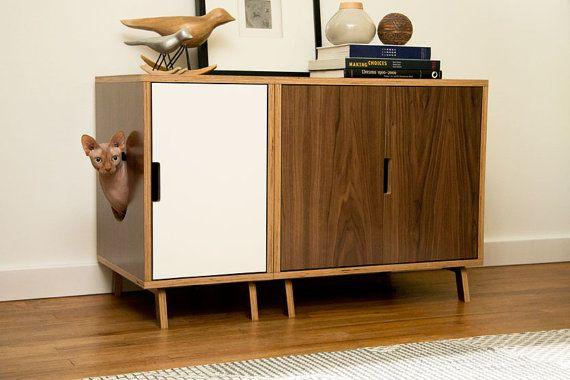 Modular Cabinet Set // Mid Century Modern Pet by modernistcat #Pet #Door #PetDoor