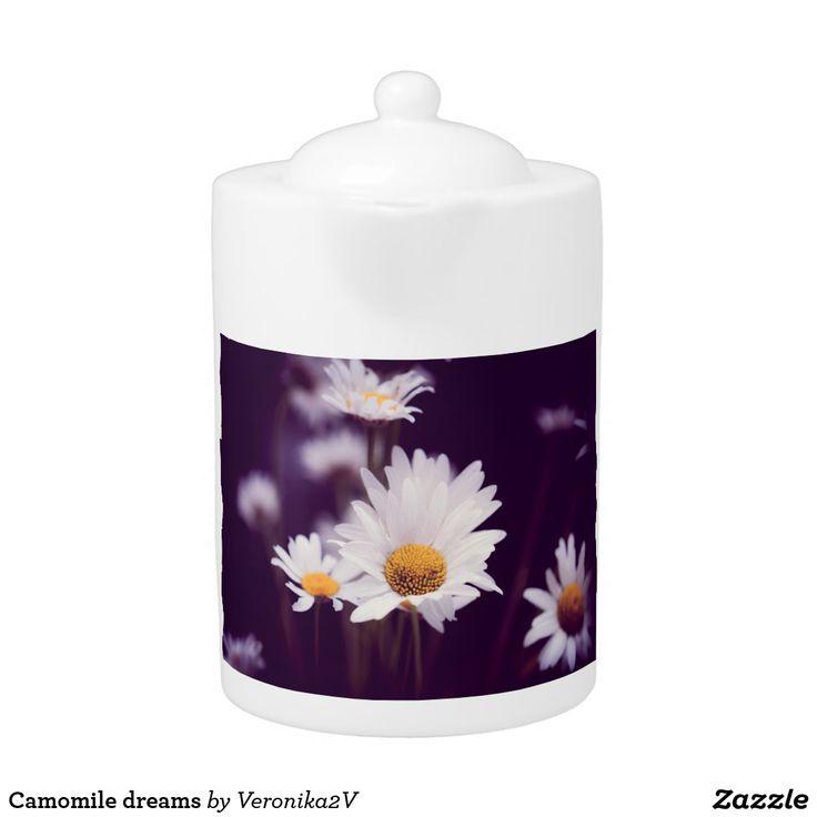 Camomile dreams teapot. tableware, photo, photography, artwork, buy, sale, gift ideas, camomile, flowers, divination, love, violet, purple, liliac, white, dreams, bright, colorful, glow, petals, dark, home, decor, teapot