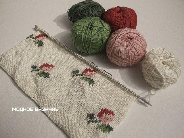 Кофточка с запахом нежными розочками - Модное вязание