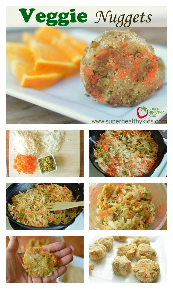 Veggie Nuggets Recipe - With five vegetables packed into this nugget, your kids will get all their servings they need in one sitting! http://www.superhealthykids.com/veggie-nuggets/