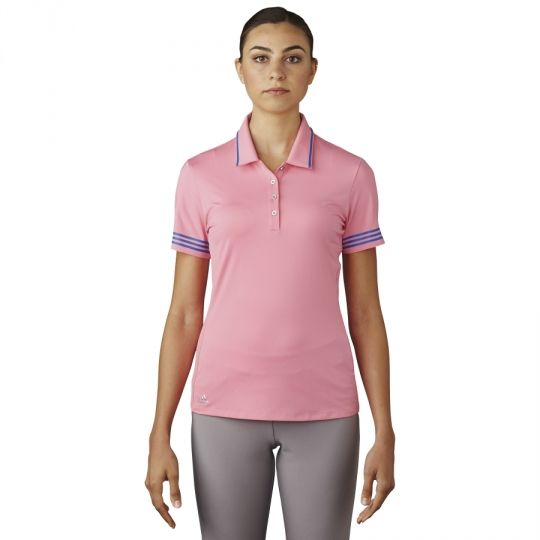 Easy Pink Adidas Ladies 3-Stripes Tipped Golf Polo Shirt now at one of the top shops for ladies golf apparel #lorisgolfshoppe