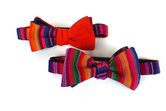 Serape Bow Ties, Self Tie Bowtie, Rainbow Bow tie, Bow Tie for Groom, Fiesta Wedding, Father's day gift, Mexican Bowtie, Mexican Wedding